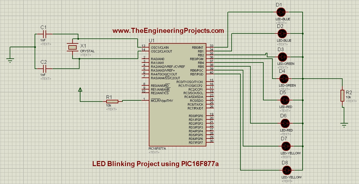 LED Blinking Project using PIC16F877a, led blink with pic, pic led, led pic, pic led blinking