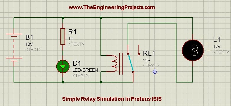 Relay Simulation in Proteus ISIS, how to use relay in proteus, proteus relay circuit,circuit diagram of proteus,relay as a switch in proteus