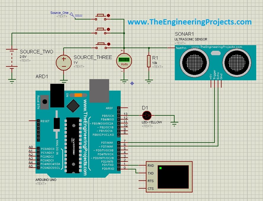 Ultrasonic Sensor Circuit Diagram | Ultrasonic Sensor Simulation In Proteus The Engineering Projects