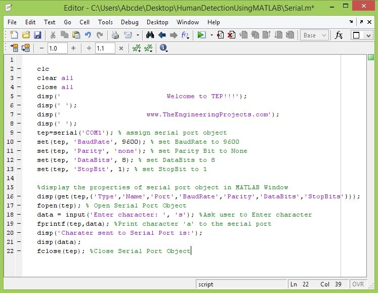 Send data to Serial Port in MATLAB - The Engineering Projects