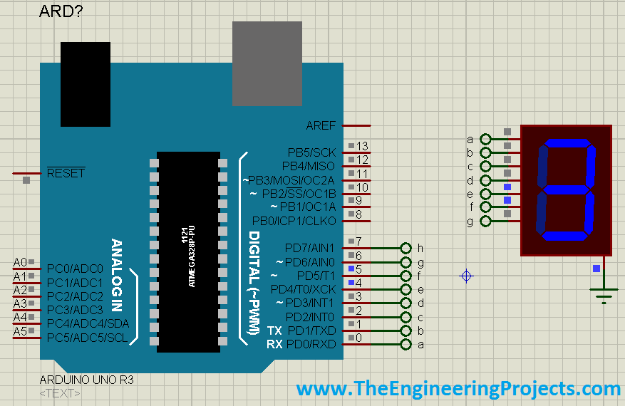 Interfacing of Seven Segment with Arduino in Proteus, 7 segment with arduino,7 segment display with arduino, seven segment display in Proteus, Proteus simulation of seven segment