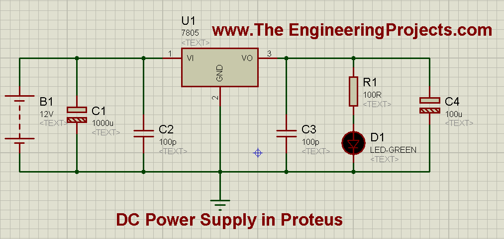 How to design a DC power supply, 5V power supply, How DC power supply is designed in proteus, How DC power supply works, How to design a power supply, How DC power supply works