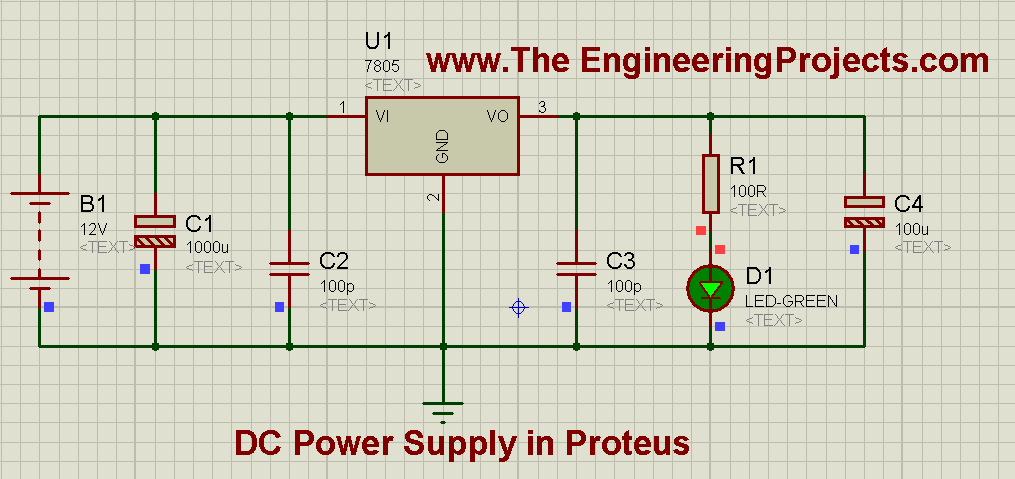 Design A 5v Power Supply In Proteus The Engineering Projects