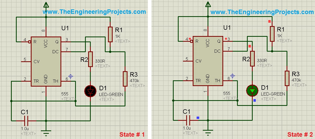 LED Flashing Project with 555 Timer in Proteus - The Engineering ...