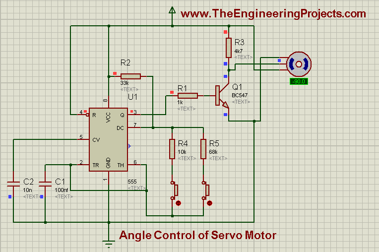 Angle control of servo motor using 555 timer in proteus for How a servo motor works