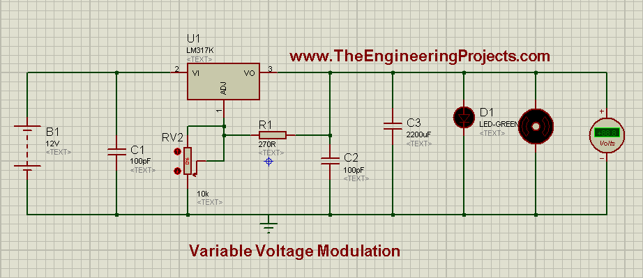Variable Voltage Modulation using LM317 in Proteus ISIS,DC power supply, dc power supply using lm317, lm317 dc power suppply