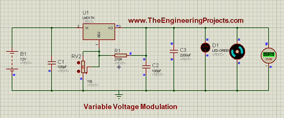 LM317 Voltage Regulator,Voltage modulation circuit, Variable voltage supply, Variable Voltage Modulation using LM317 in Proteus ISIS,DC power supply, dc power supply using lm317, lm317 dc power suppply,Variable voltage circuit using 555 timer in proteus isis, how to design variable voltage supply in proteus isis