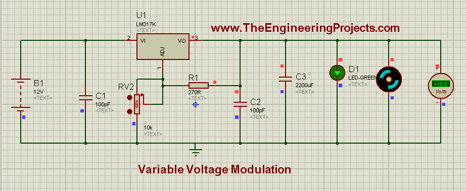 LM317 Voltage Regulator, Voltage modulation circuit, Variable voltage supply, Variable voltage circuit using 555 timer in proteus isis,Variable Voltage Modulation using LM317 in Proteus ISIS,DC power supply, dc power supply using lm317, lm317 dc power suppply, how to design variable voltage supply in proteus isis