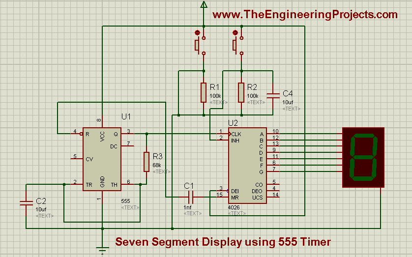 Seven Segment Display Using 555 Timer in Proteus ISIS - The