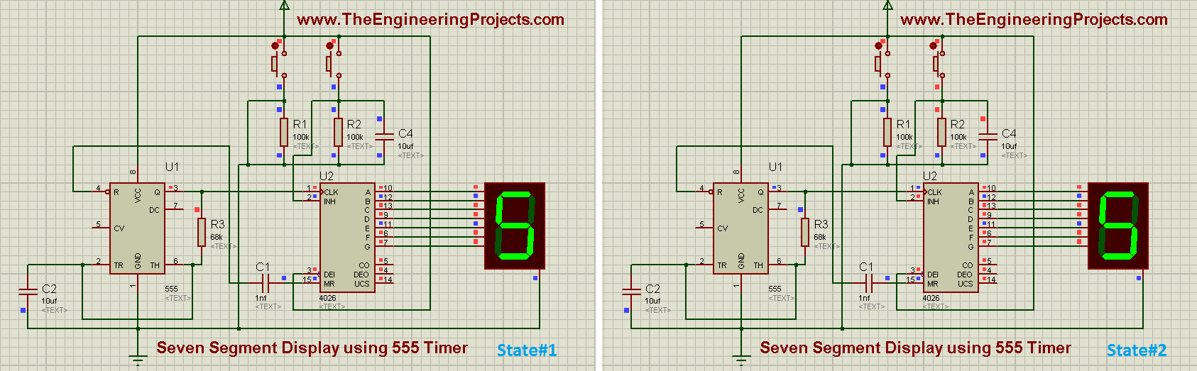 seven segment display using 555 timer, seven segment dispaly using 555 timer in proteus isis, seven segment display using 555timer, how seven segment display is designed in proteus