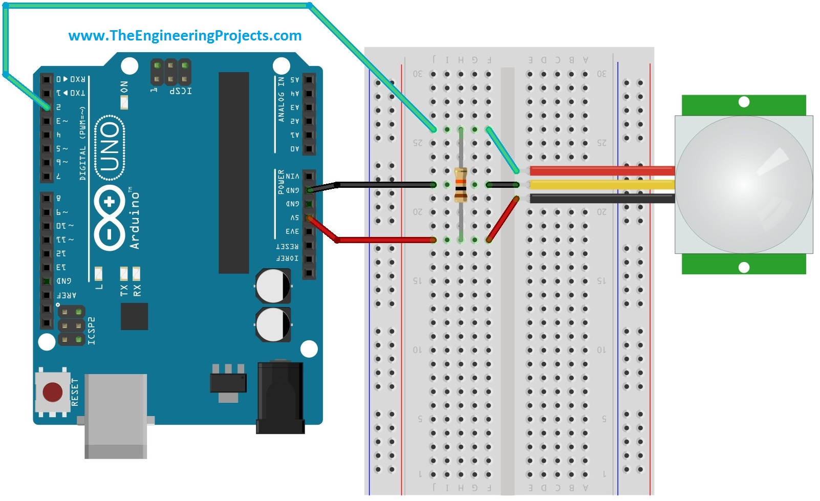 interfacing pir sensor with arduino the engineering projects. Black Bedroom Furniture Sets. Home Design Ideas