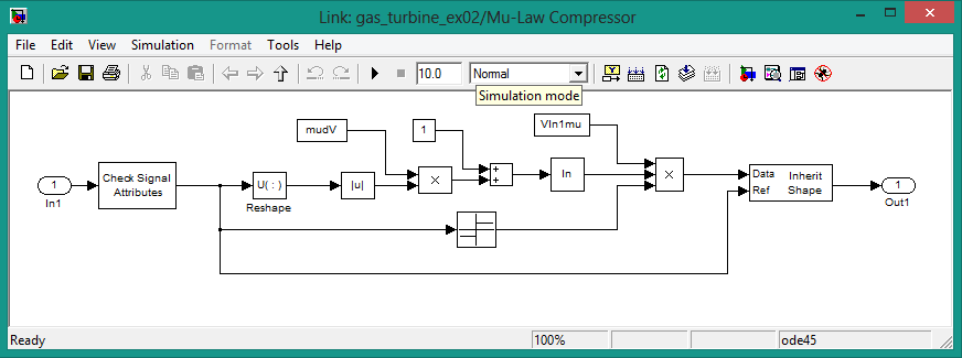 Mu-law compressor parameters in simulink, how mu-law compressor in designed in simulink
