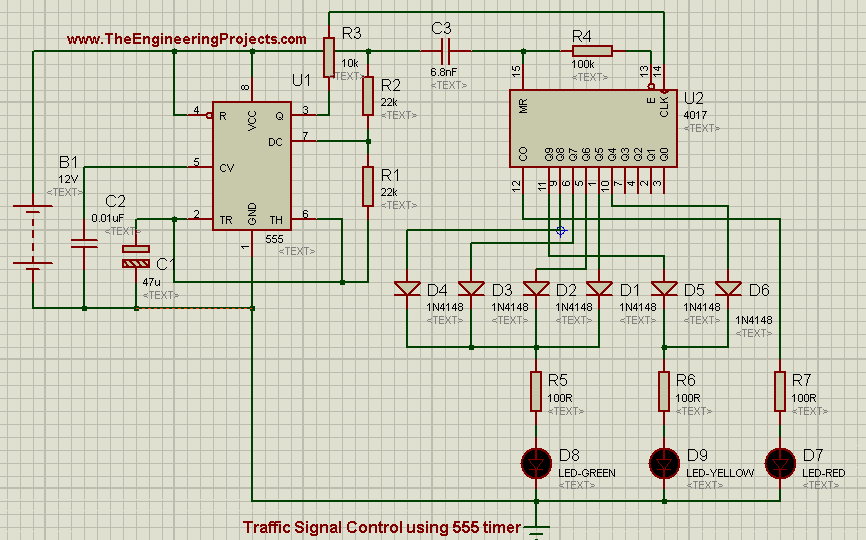 Traffic Signal Control Using 555 Timer In Proteus Isis The Engineering Projects