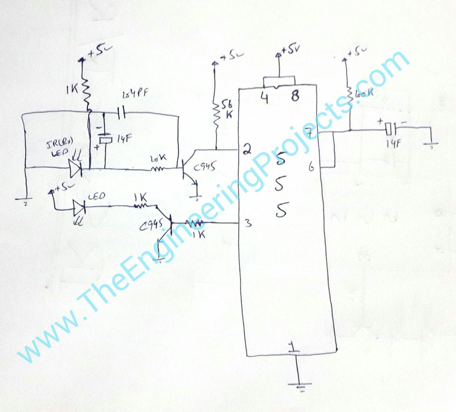 Circuit Diagram Of Ir Sensor Using 555 Timer The Engineering Projects Design Calculator Software