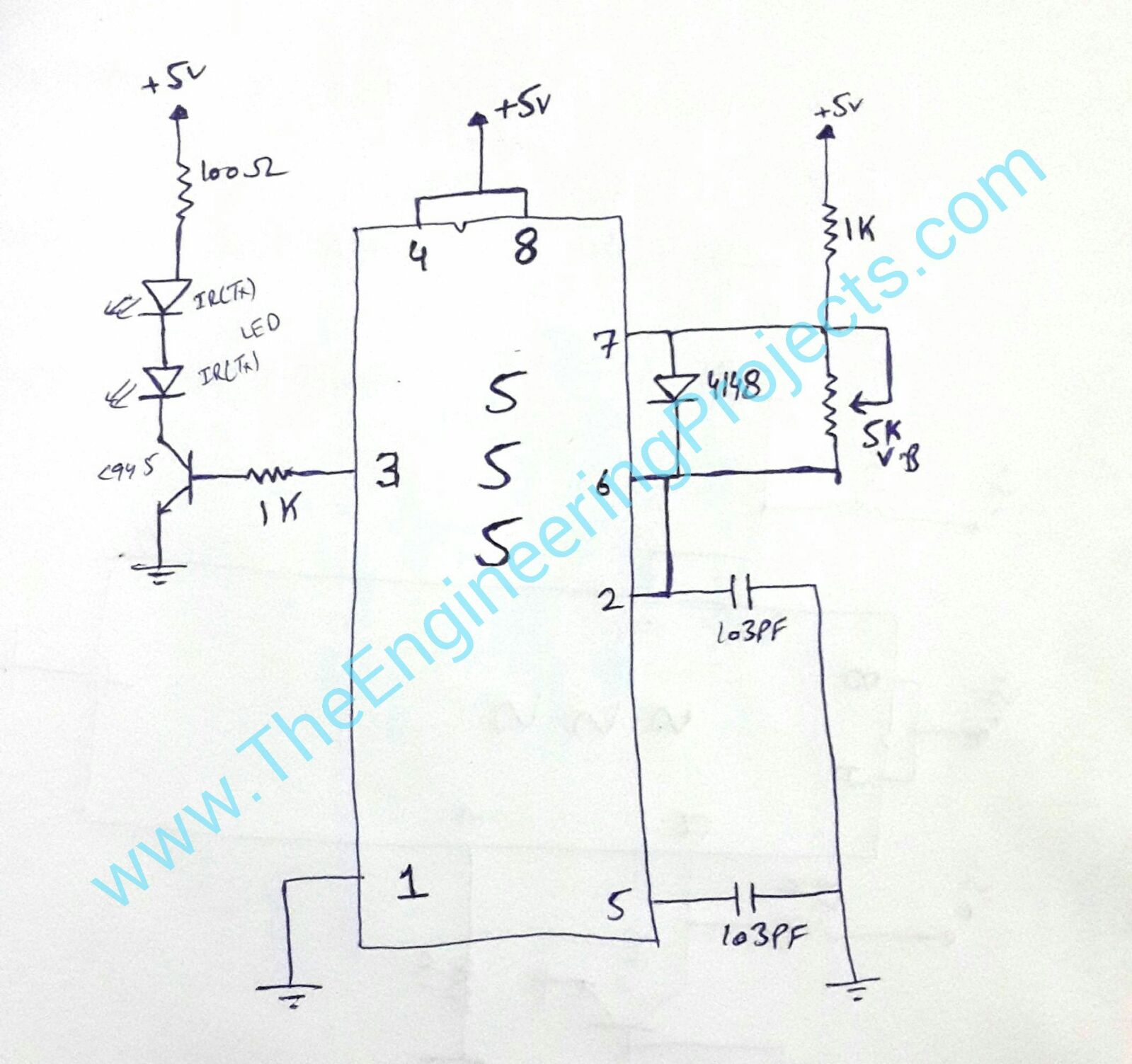 ir sensor circuit diagram using 555