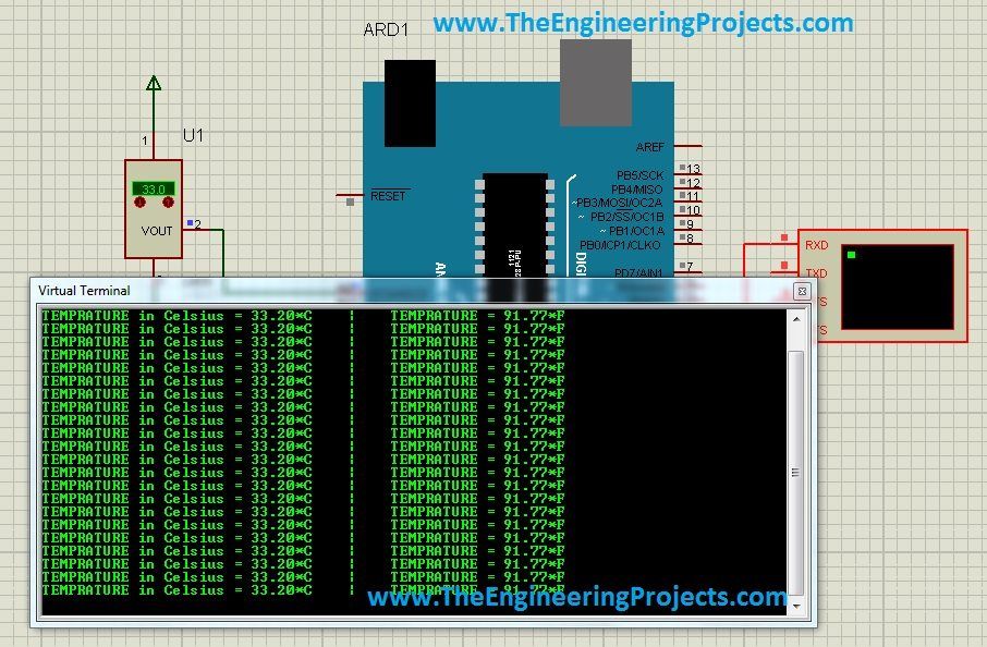 interface lm35 with arduino,lm35 arduino coding,how to connect lm35 and arduino,proteus lm35 example