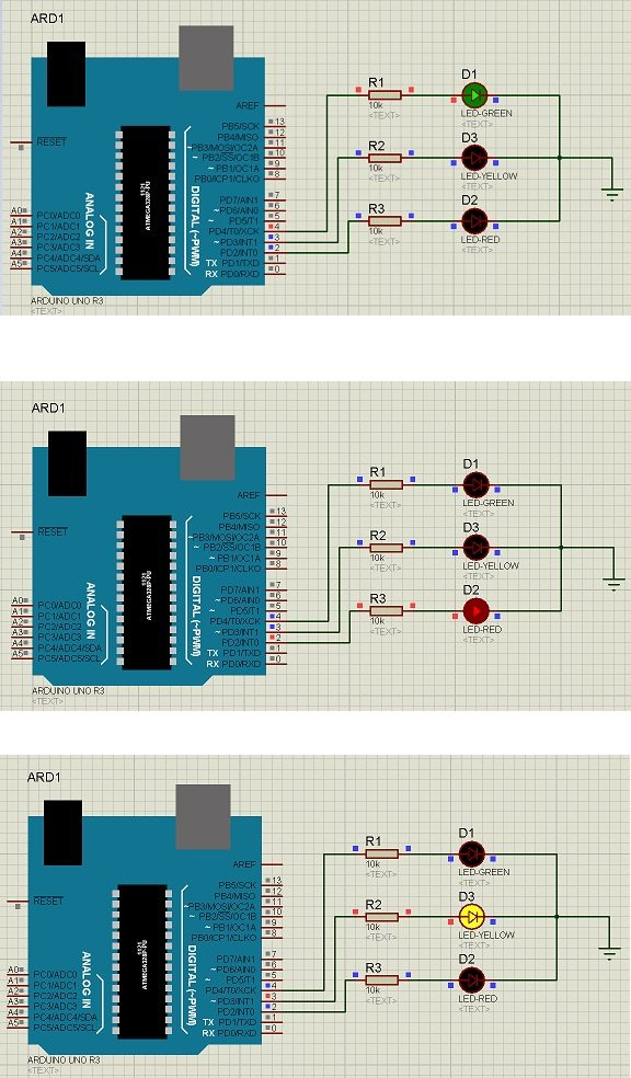 Traffic Signal Control Project using Arduino