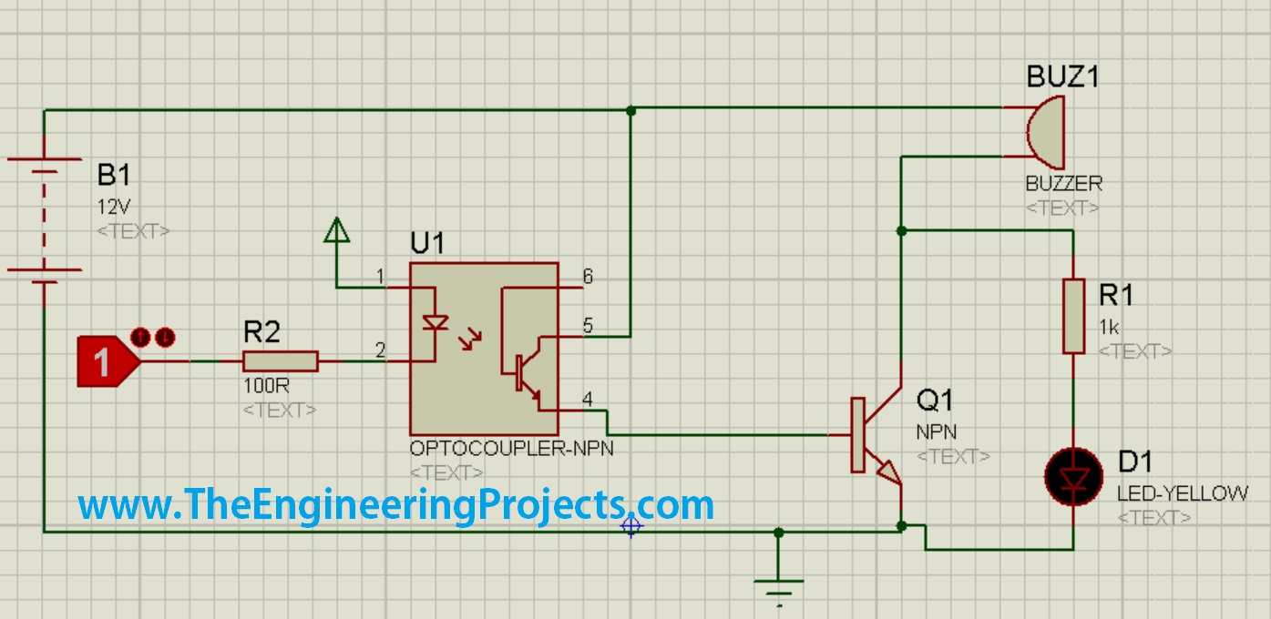 Optocoupler Circuit Diagram Auto Electrical Wiring Arduinorelayjpg Design A Buzzer In Proteus Isis The Engineering Projects Tester Opto Coupler Circuits