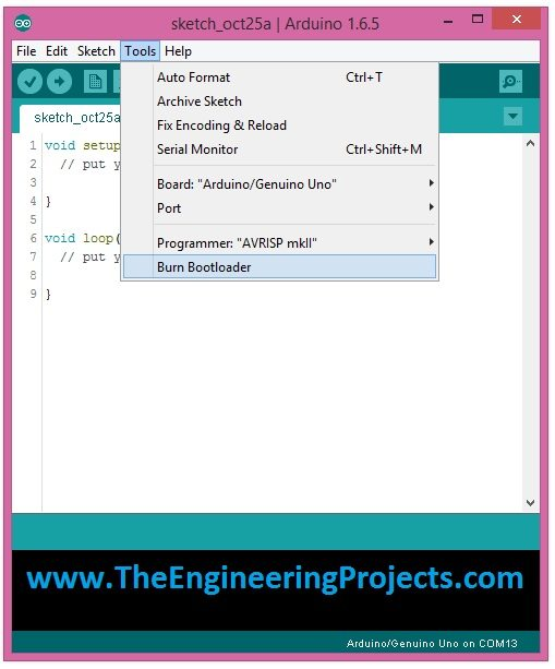 How to Upload Bootloader in Atmega328 - The Engineering Projects