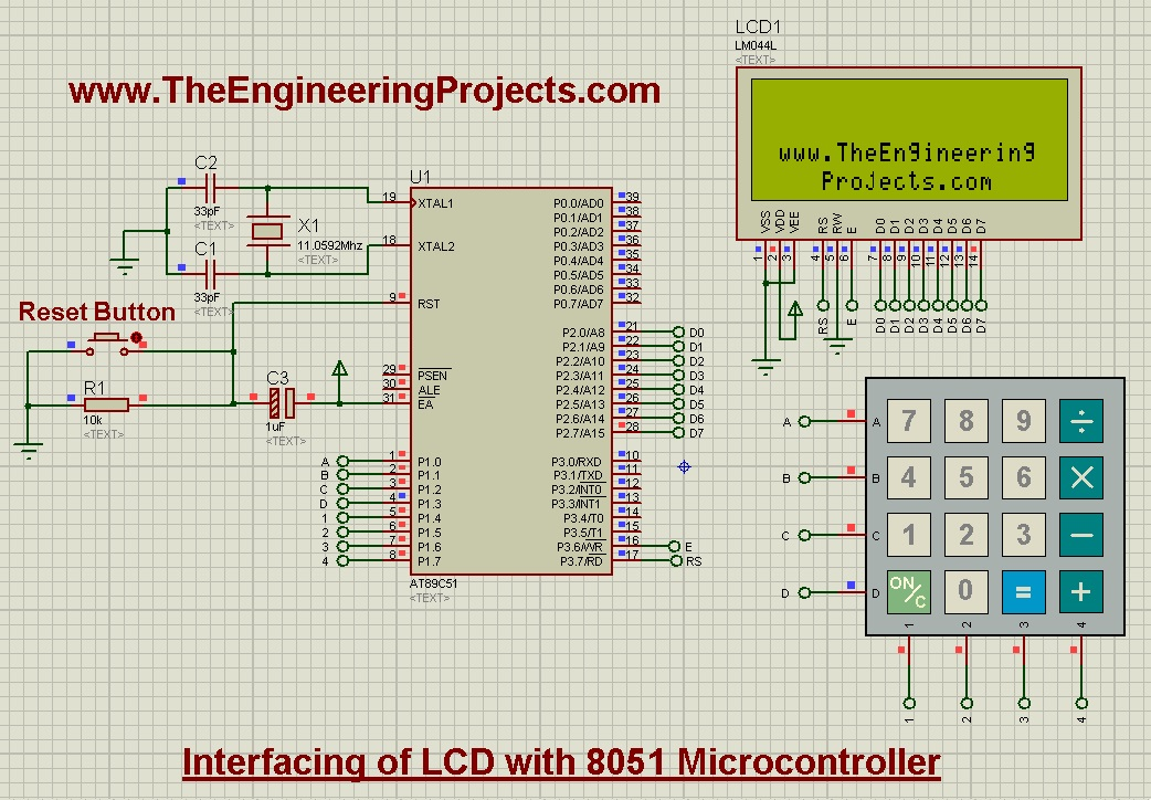 Interfacing of Keypad with 8051 Microcontroller in Proteus - The