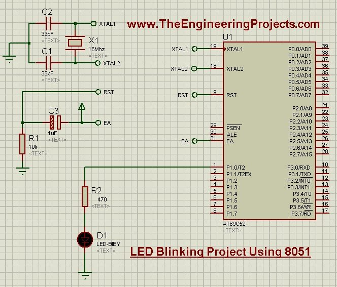 LED Blinking Project Using 8051 Microcontroller Proteus, LED blinking project 8051 keil,get start with 8051,8051 projects, 8051 student projects