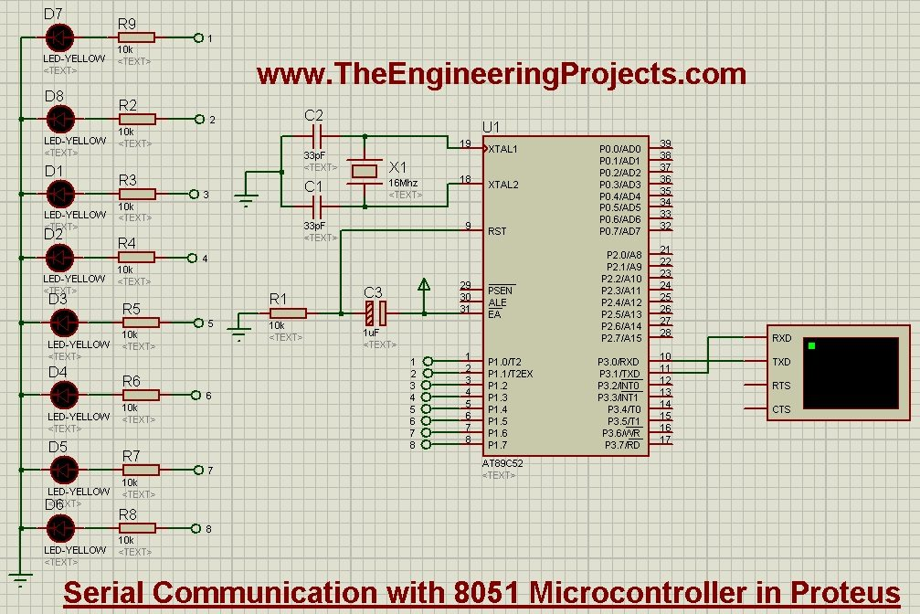 Serial Communication with 8051 Microcontroller in Proteus
