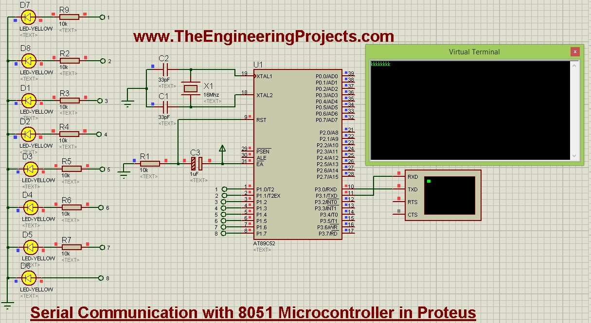 Serial Communication With 8051 Microcontroller In Proteus The Based Schematics Circuits Projects And Tutorial Uart Microcontrollerserial Data Sending
