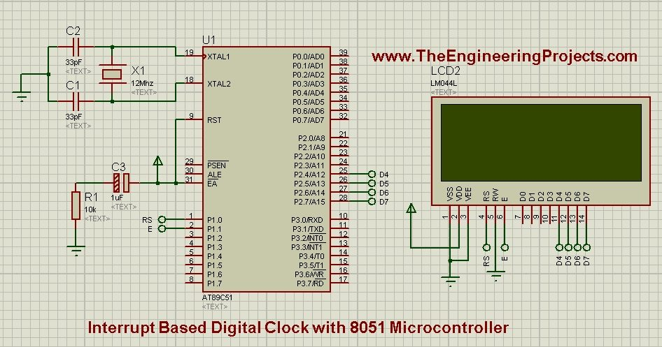 digital clock with 8051 microcontroller, 8051 digital clock,digital clock 8051, digital clock with 8051, interrupt based digital clock, digital clock with interrupt