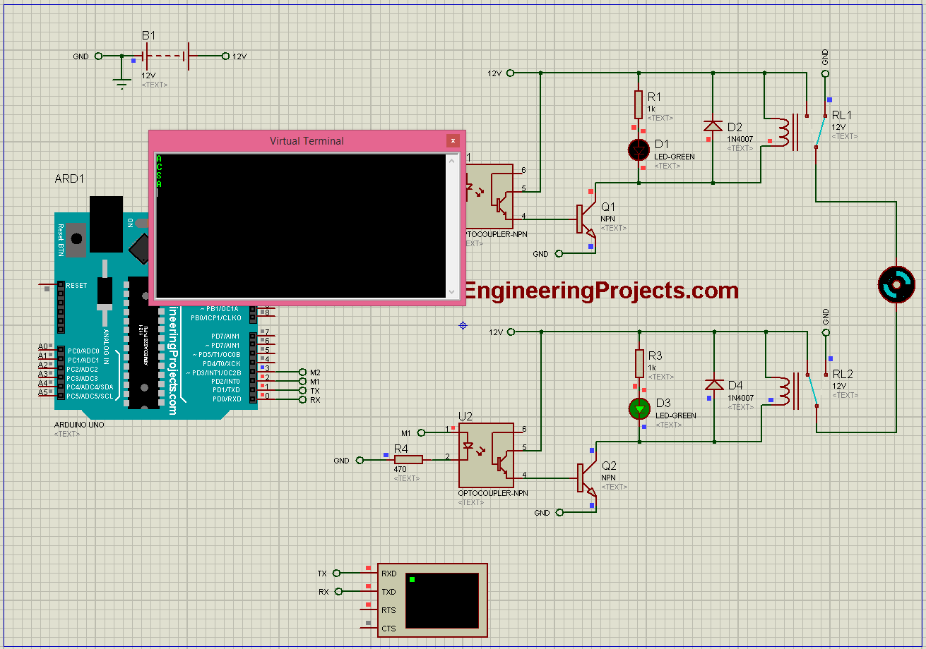 Dc Motor Direction Control With Arduino In Proteus The Engineering Relay Terminal Codes Of