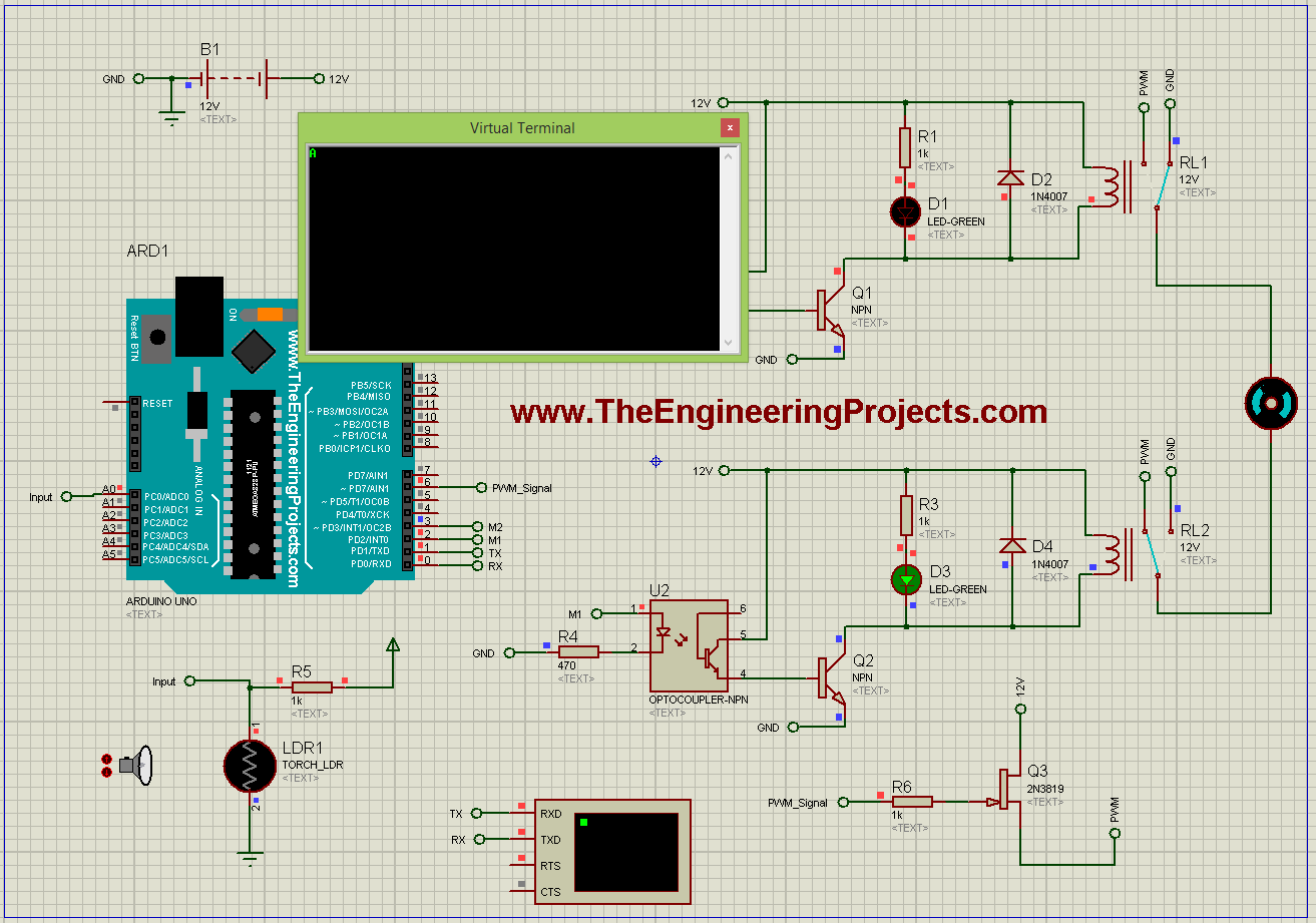 DC Motor Speed Control using Arduino in Proteus - The Engineering