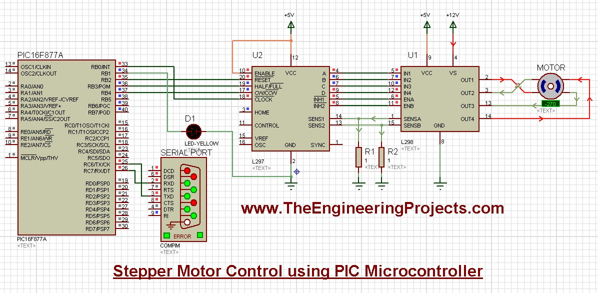 Stepper Motor Control using PIC Microcontroller - The Engineering