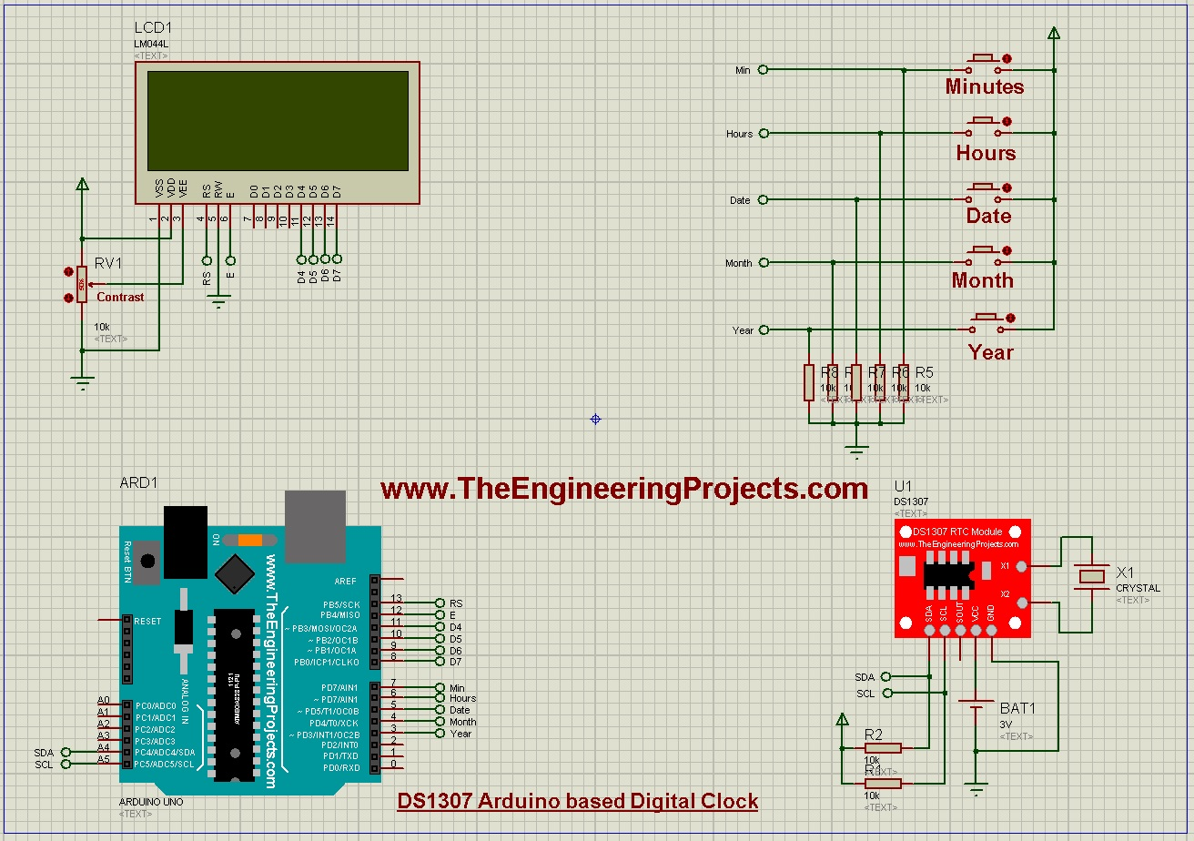 DS1307 Arduino Based Digital Clock,ds1307 arduino,digital clock arduino