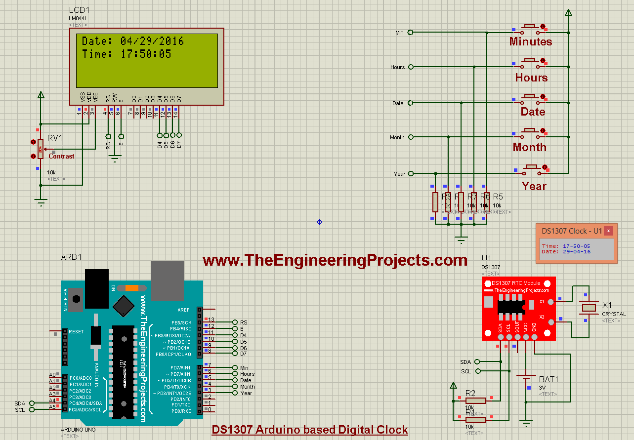 DS1307 Arduino based Digital Clock in Proteus - The