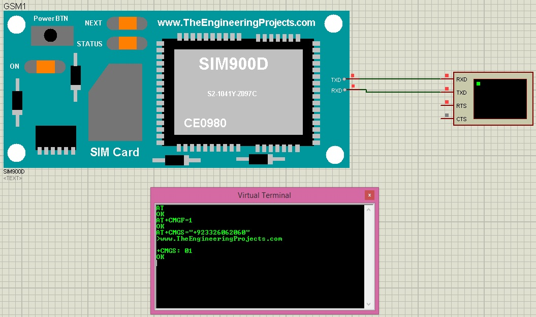 Send SMS with SIM900D in Proteus ISIS - The Engineering Projects