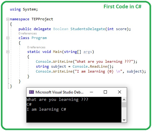 First Code in C# Tutorials, c# console, c# tutorials, console writeline, console readline