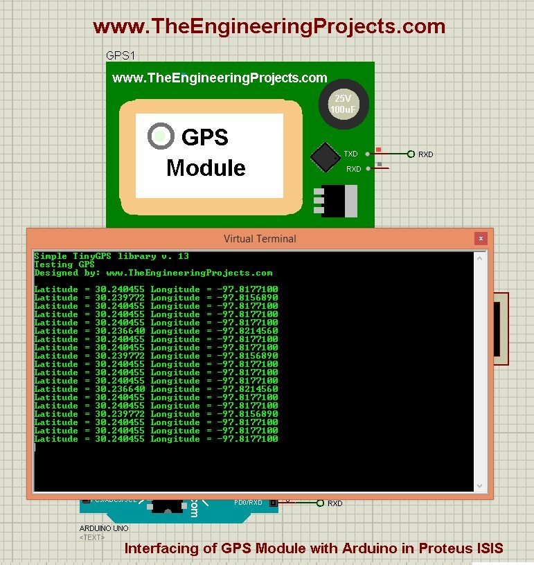 gps module in proteus, gps module with arduino, gps module proteus simulation, gps module proteus