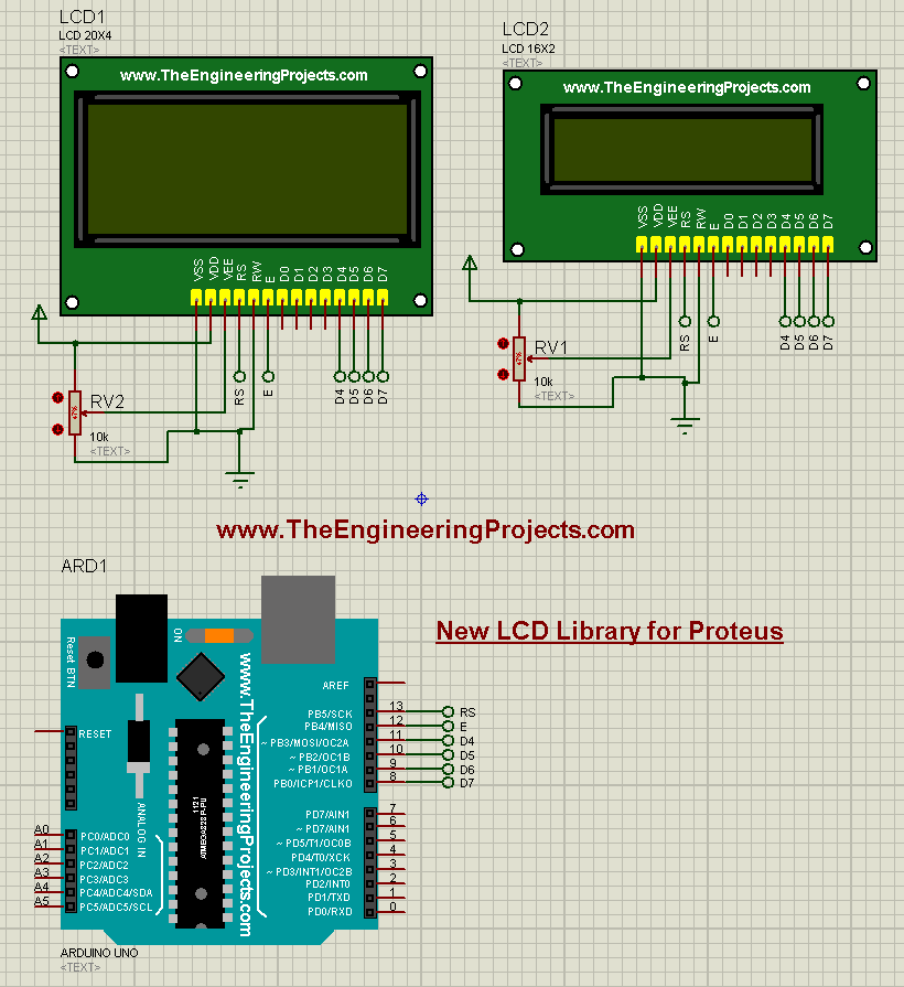 New lcd library for proteus the engineering projects