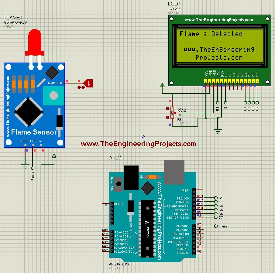 Interfacing of Flame Sensor with Arduino, Flame Sensor with Arduino, flame sensor arduino, arduino flame sensor,flame sensor in proteus