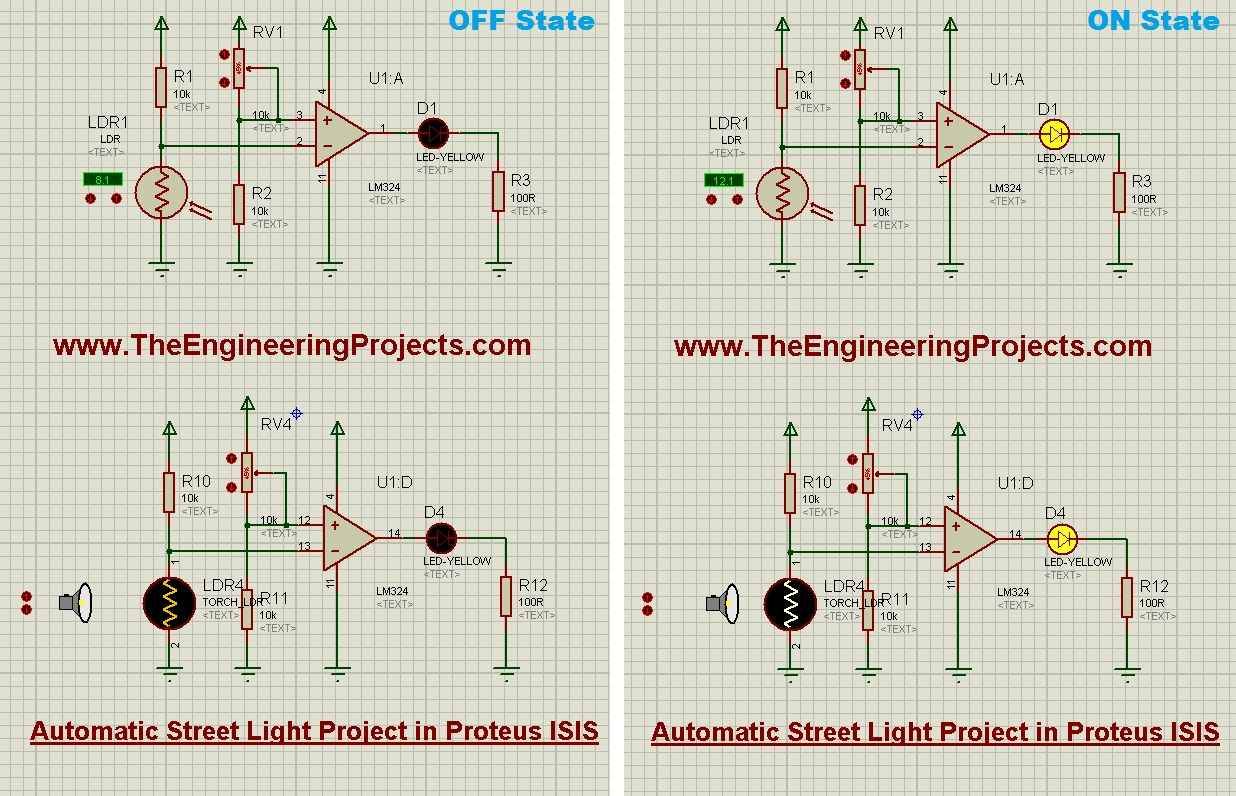 Automatic Street Light Project In Proteus The Engineering Projects Infrared Sensor Circuit Diagram Moreover Ldr