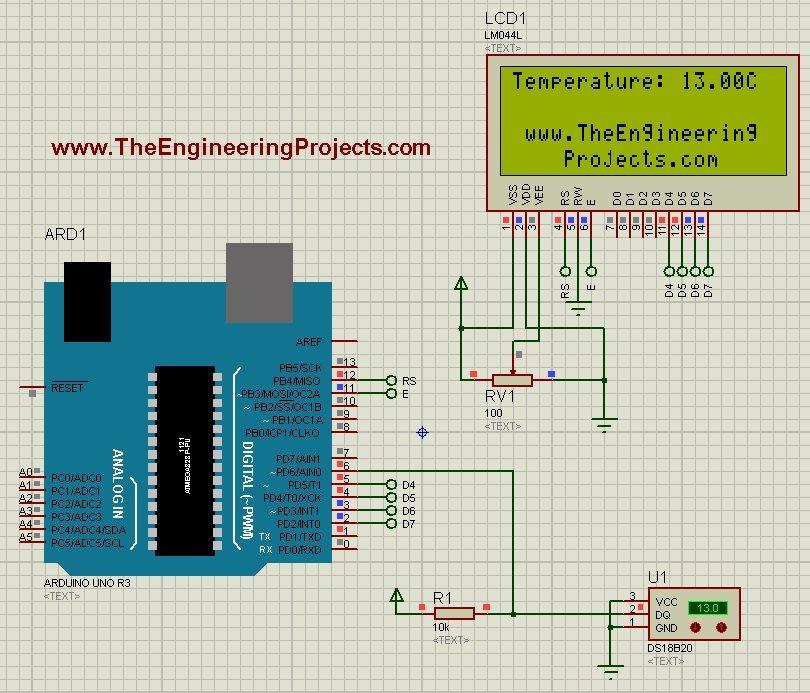 circuito termometro lcd16x2 lm35 arduino - Pinterest