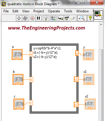 Calculating quadratic roots using LabVIEW, Finding quadratic roots in LabVIEW, How to find quadratic roots in LabVIEW, How to find roots of quadratic equation using LabVIEW, Use LabVIEW to find roots of quadratic equation