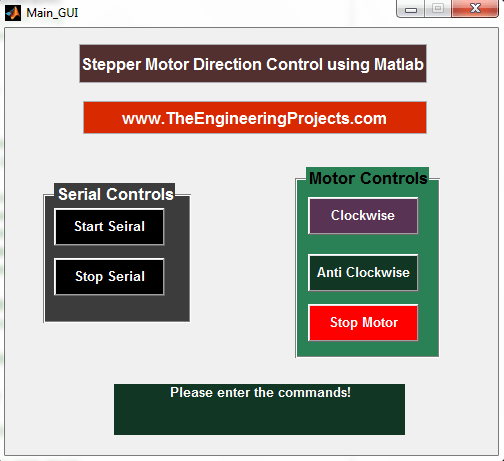 Stepper Motor Direction Control using Matlab - The Engineering Projects