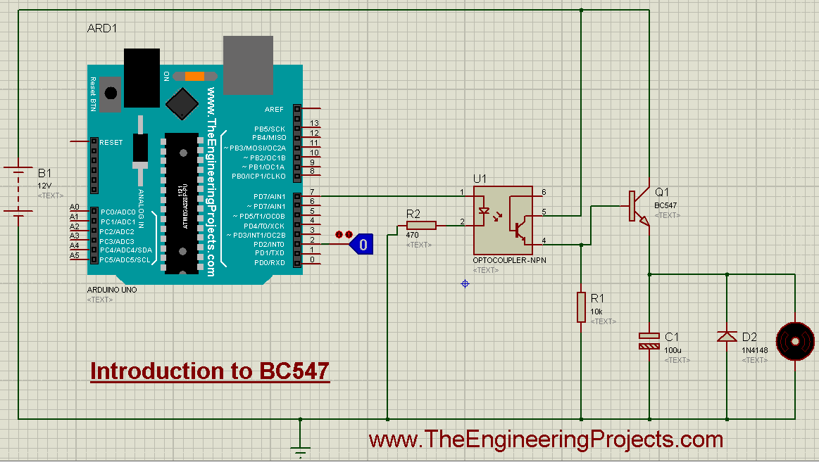 Introduction to BC547, getting started with BC547, how to start with BC547, How to use BC547, BC547 Proteus simulation, Proteus BC547, BC547 Proteus