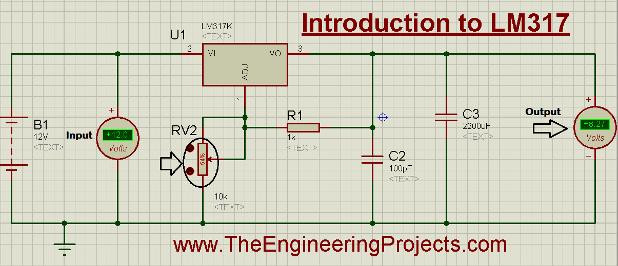 Introduction to LM317, how to start using LM317, getting started with LM317, how to getting started with LM317, how to use LM317, LM317, LM317 proteus simulation, LM317 proteus, proteus LM317