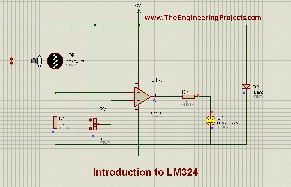 LM324_Pinout, Introduction to LM324, getting started with LM324, how to get start with LM324, how to use LM324, LM324 Proteus, Proteus LM324, use LM324 for first time, LM324 pin configuration, basics of LM324
