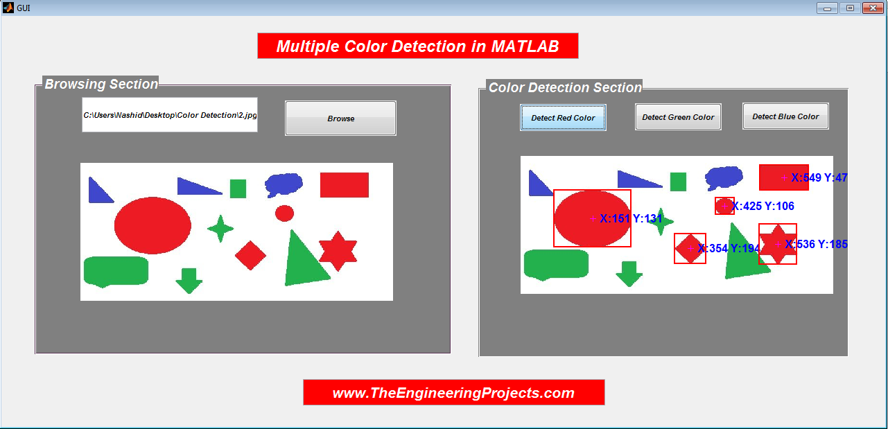 Multi Color Detection in MATLAB, how to detection multi color in MATLAB, MATLAB multi color detection, detect multi Color in MATLAB, MATLAB GUI to detect multi colors in MATLAB, Detection of multi colors using GUI in MATLAB