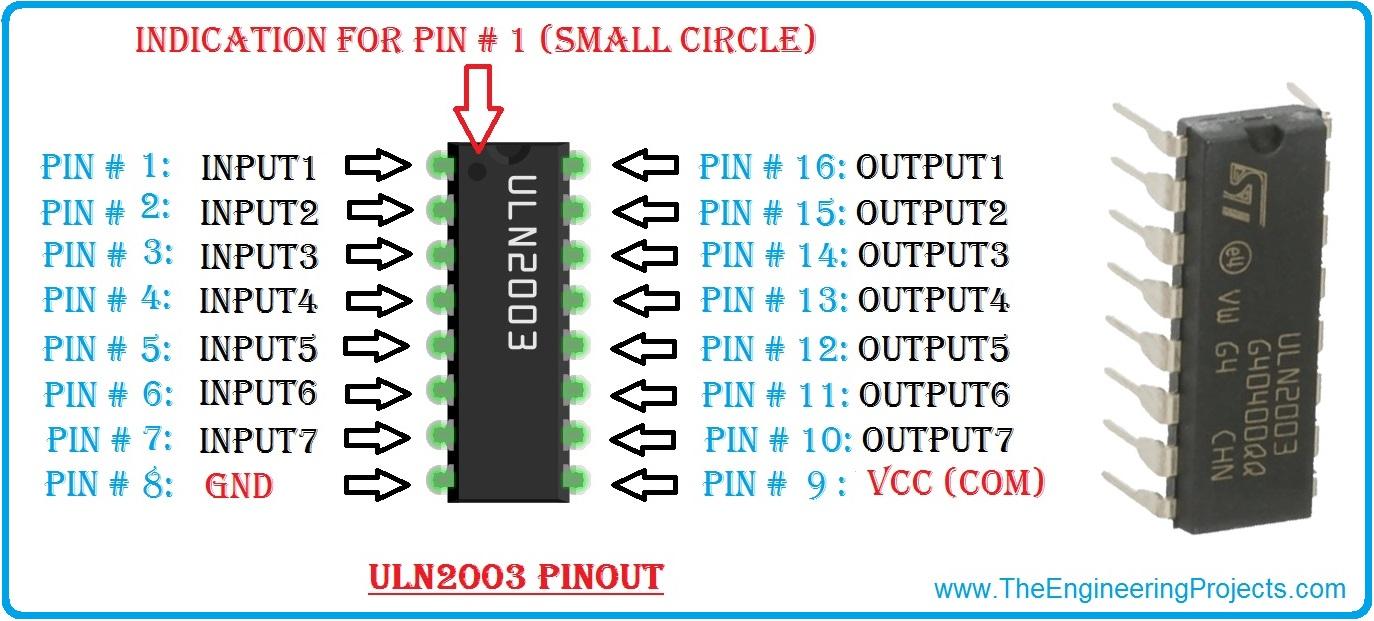 uln2003, uln2003 pinout, uln2003 datasheet, uln2003 circuit diagram, uln2003 proteus simulation, uln2003 motor driver, uln2003A, uln2003A pinout, uln2003A datasheet