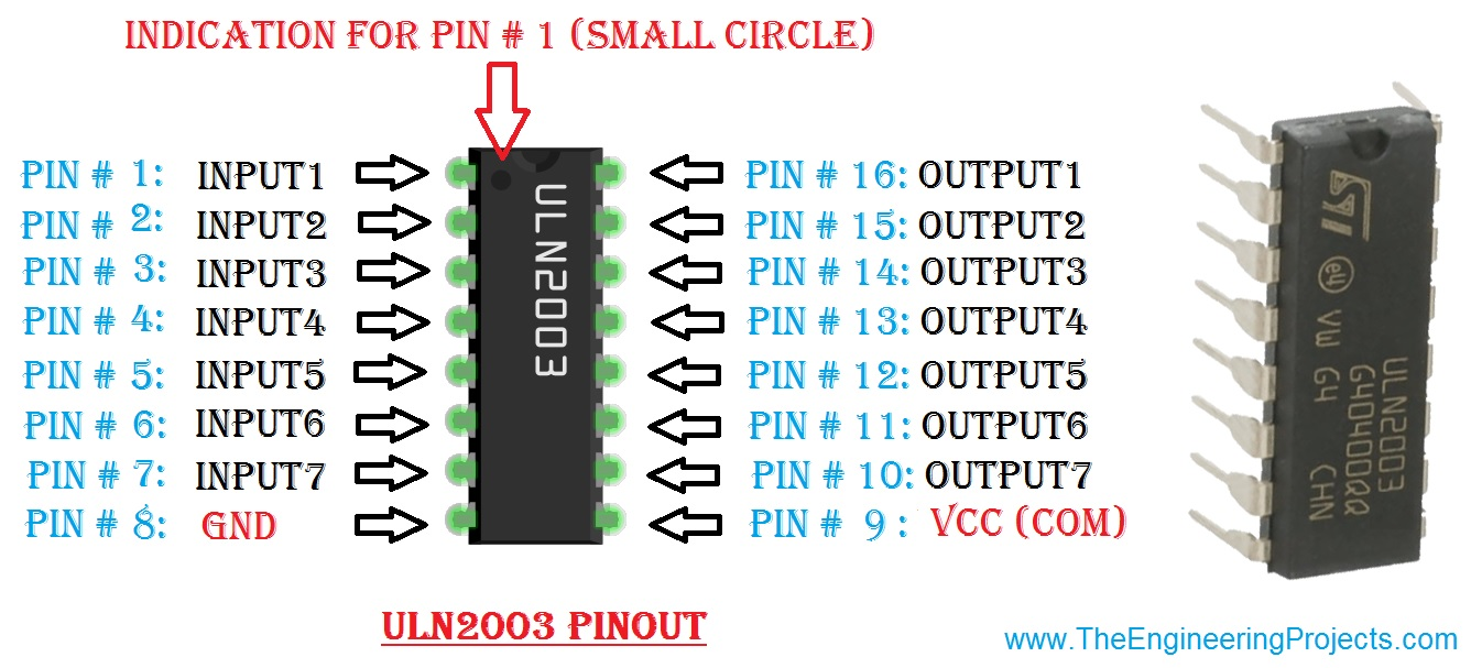 Introduction To Uln2003 The Engineering Projects Stepper Motor Driver Circuit Using Transistor Pinoutintroduction Getting Started With