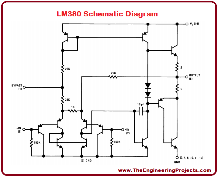 LM380 Pinout, LM380 basics, basics of LM380, getting started with LM380, how to get start LM380, LM380 proteus, Proteus LM380, LM380 Proteus simulation
