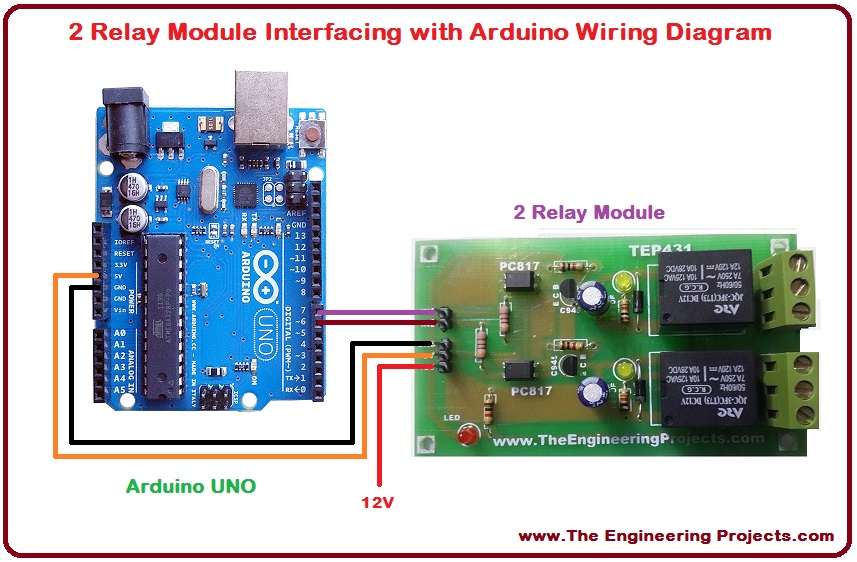 2 relay module interfacing with arduino the engineering projects rh theengineeringprojects com Real Motor in Arduino Setup Arduino Relay Wiring Diagram